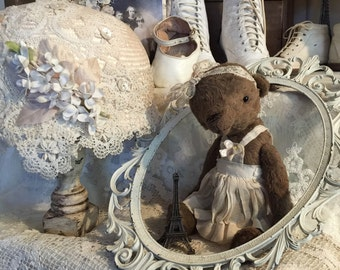 Vintage girl old worn style teddy bear Vintage Style artist mohair teddy bear handmade from viscose made by Olive Grove Primitives