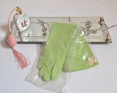 "NWT Mod Vintage 1960's Lime Green Gloves-Mint Elbow Length ""FINALE"" Nylon Gloves-One Size Fits All"