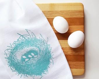 SALE Birds Nest Turquoise Kitchen Cotton Floursack Dishtowel Rustic Country Cottage Hostess Housewarming Gift under 10 Dollar Nashville