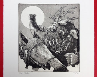The Phantom Huntsman limited edition intaglio print