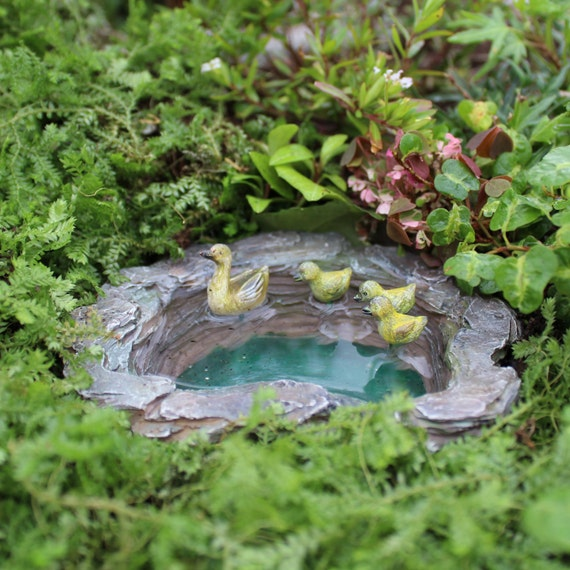 "Mallard's Fairy Pond (Mama and 3 Ducklings) 4""L x 3.5""W x 1.5""Deep for the Fairy Garden"