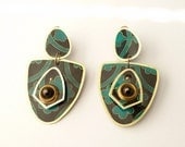 Vintage Shoulder Duster Artisan Earrings 3.75 Inches in an African Print by Takara Designs