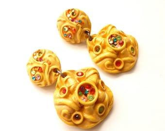 Magical 1980s Boho Yellow Earrings by French Designer Jacky De G