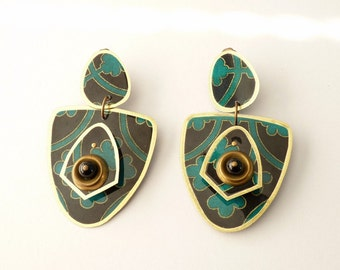 Vintage Designer African Print Dangling Earrings  3.75 Inch Statement Earrings with Bead Accents by Takara Designs