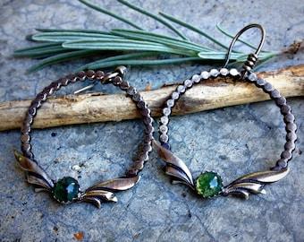 Enchantress Earrings - Sterling Silver and Moss Agate Dangle Earrings - Hoop - Earwires - Gemstone - Handcrafted - Leaves - Autumn