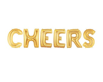 Cheers Balloon Kit - Gold - Foil Balloon - Party Decor - 16 inches - 40cms -  Ready to Ship.