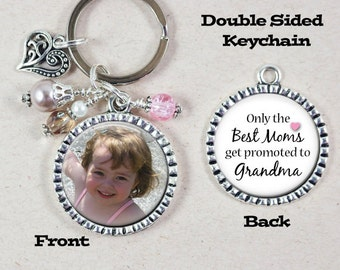 Grandma Keychain, Only the Best Moms get promoted to Grandma, Custom Photo Key Chain, Pregnancy Announcement