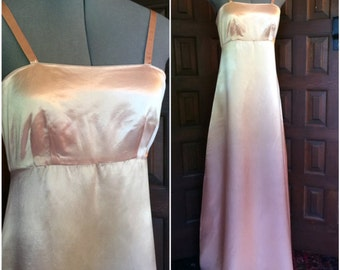 1970s Peach Blush Satin Gown AS IS