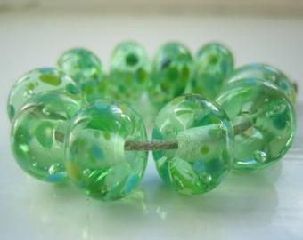 Green Tea Fritties Lampwork Glass Beads, SRA, UK Seller, UK Lampwork