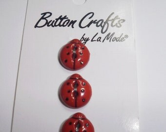 "Three Novelty Buttons -- Ladybugs - 1/2"" (12mm) - Red and Black - Plastic Sew Through"