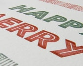 Happy Merry letterpress holiday card set