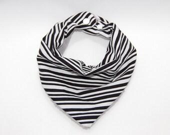Baby Bandana Bib - Black and White Stripes
