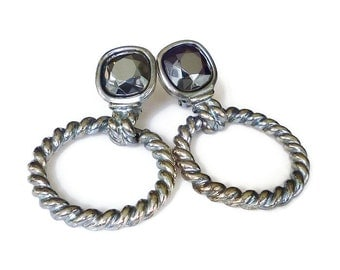 Givenchy Earrings, Hoop Door Knocker, Silver Plated, Hematite Glass, Heavy Long, Statement Jewelry, Designer Jewellery, Runway Couture