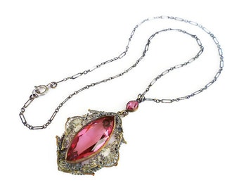 Art Deco Necklace, Hot Pink, Faceted Glass, Silver Filigree, Paper Clip Chain, Antique Jewelry