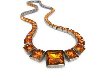 Art Deco Necklace, Czech Glass, Amber Glass, Silver Metal, Channel Set, Czechoslovakia, Antique Jewelry