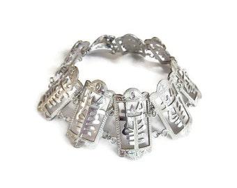 Sterling Chinese Bracelet, Chinese Symbol, Longevity Strength, Silver Bracelet, Vintage Bracelet, Vintage Jewelry