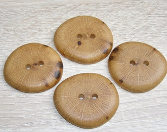 "4 Handmade  oak wood buttons, accessories (1,77"" diameter x 0,28"" thick)"