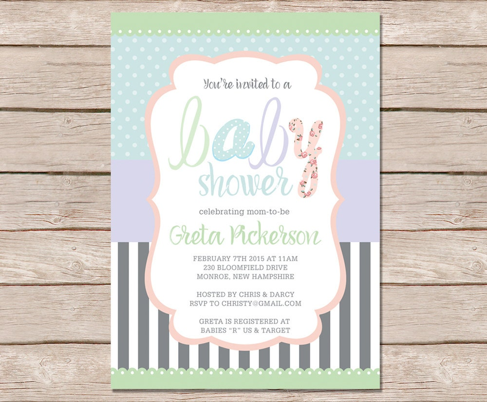 shabby chic baby shower invitations printable baby shower