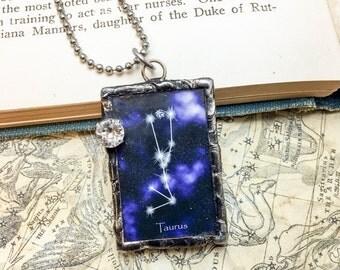 Zodiac Constellation Pendant with Swarovski Crystal: Taurus