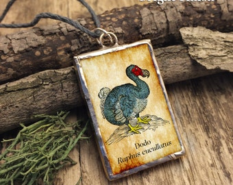 Dodo Soldered Glass Pendant with Lewis Carroll Quote.
