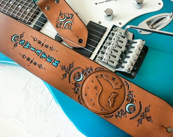 Custom Leather Guitar Strap - Wolf Moon Spirit Animal Design - Turquoise Crescent Moon Southwest Coyote - Hand Painted Bass Strap - Musician