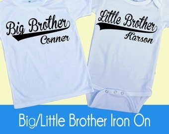 Big Little Brother Iron on Transfer - Tshirt - Bodysuit - Tote Bags - DIY - You choose color