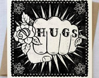 Hugs Tattoo Card | Encouragement Card | Friendship Card | Good Luck Card