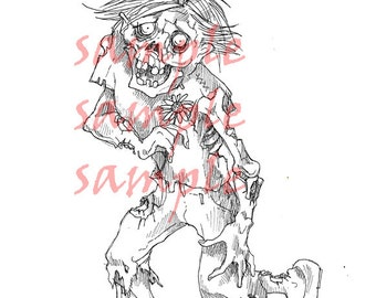 Zombie Boy digital stamp