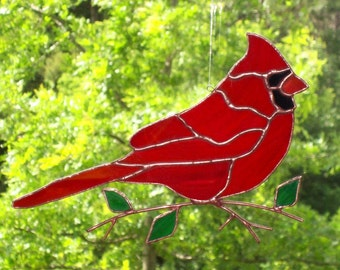 Cardinal - Stained Glass Bird Suncatcher - Large 071116