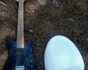 Antique vintage Bedpan and Little Guitar for repurpose Musical Instrument