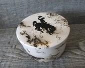 Wyoming Cowboy Horse Hair Pottery Trinket Box - Ready to ship today