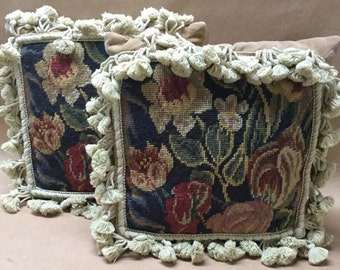 """2 Pillows 13"""" Floral Needlepoint with Tassels Aubusson Style Petit Point French Country"""