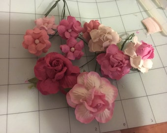 Custom order - 30 mixed Pink mulberry paper flowers  / 3 sets