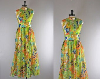1970s Vintage Dress l 70s Multicolored Print Chiffon Maxi Dress