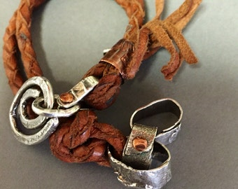 Silver Link Leather Wristwrap -:- Silver links mixed with leather bracelet.