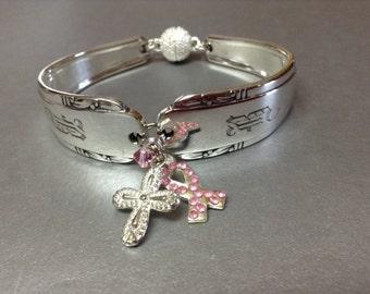 Free USA shipping, Breast cancer awareness, religious bracelet, pink ribbon, spoon jewelry, silverwear bracelet, crucifix, Engraved bracelet