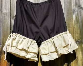 Black bloomers with double wide tan ruffles size Small Ready to ship