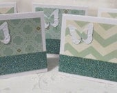 Mini Gift Tags or Thank You Cards Handmade Aqua and Beige 30