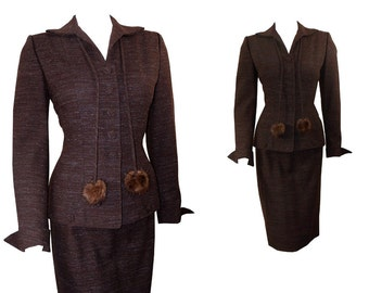 Hourglass Vintage Late 1940s Chocolate Brown Dress SUIT Jacket with Pencil Skirt & Mink Trim