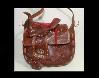 1960s 1970s floral hand tooled brown leather shoulder bag purse ~ rust suede fringes ~ western saddle novelty - Mexico ~ monogram JUNE 60s