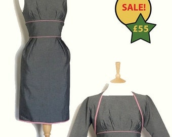 Size UK 10 - Charcoal Grey and Red Gingham Wiggle Dress and Matching Bolero - Made by Dig For Victory