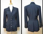 FRANCESS ERITA Black Fitted Elongated Hip Length Military Styled Jacket Size 4