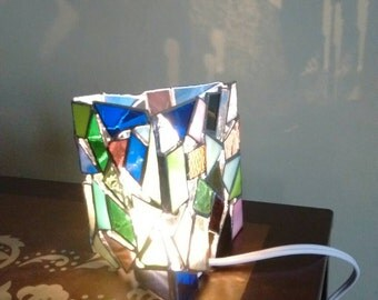 Mosaic lover - glass lamp - stained glass lamp - candle lamp - glass gift - stained glass lover -mosaic art - stained glass art -glass art
