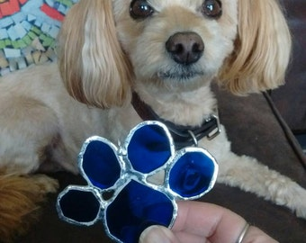 Dog lover -best friend -dog ornament -dog paw - pet lover gift -puppy paw -dog paw ornament -stained glass gift -glass lover -blue -dog gift
