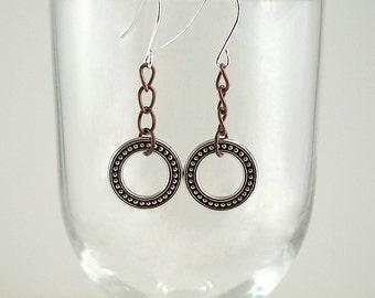 Mixed Metal Earrings Antiqued Silver Earrings Silver Copper Earrings Mixed Metal Drop Earrings Copper Silver Dangle Earrings Silver Hoops