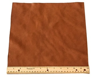 UPHOLSTERY LEATHER PIECE Cowhide Light Brown Lt Wt 1 Sf