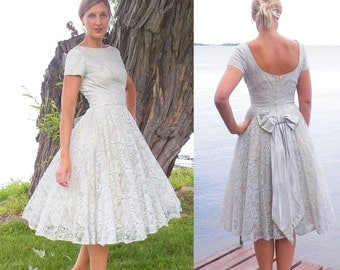 50s Dress, 1950s Prom Dress, Pale Blue Lace Party Dress, 50s Circle Skirt Dress XS