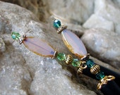 Pair of Japanese Hair Stick Honey Opal Set of Hair Sticks Swarovski Green Hairsticks Crystal Kanzashi Hair Pins Hair Chopsticks - Adina