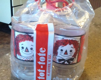 Rare Anchor Hocking Raggedy Ann Andy Doll Glass Juice Tumbler 4 Pack 1972  I Love You