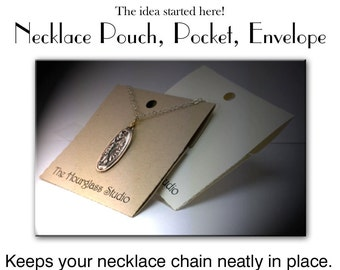 Necklace Holder- 080 Necklace card holder, Necklace holder, Jewelry display, Perforated, Necklace pocket, Necklace envelope,Necklace pouch